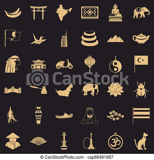 Asian trip icons set, simple style - csp66491687