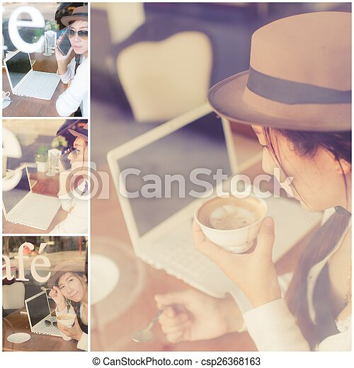 Asian woman drinking coffee  - csp26368163