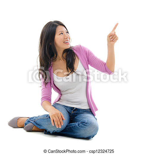 Asian woman hand pointing on blank space - csp12324725