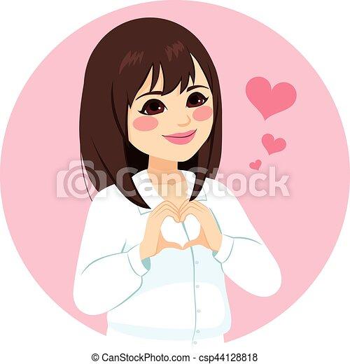 Asian Woman Heart Shape Hands - csp44128818