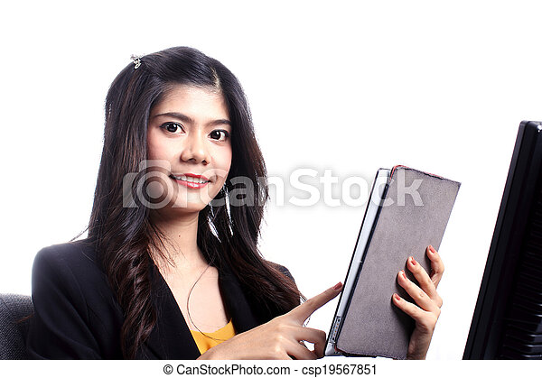 Asian woman holding Tablet - csp19567851