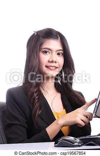 Asian woman holding Tablet - csp19567854