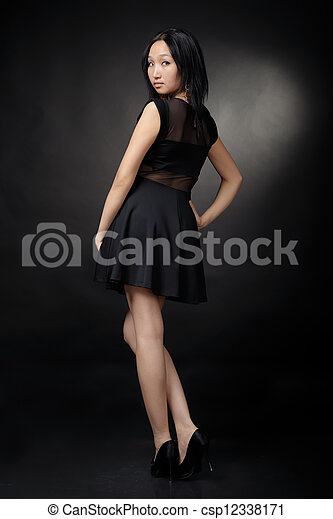Asian woman in black dress - csp12338171