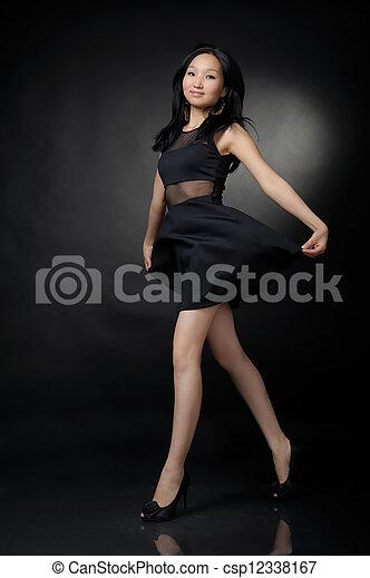 Asian woman in black dress - csp12338167