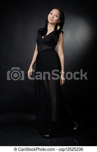 Asian woman in black dress - csp12525236