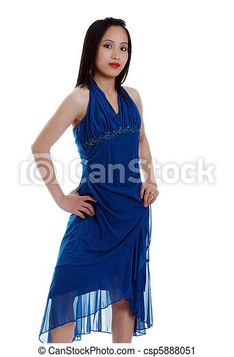 Asian woman in blue dress - csp5888051