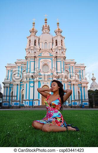 Asian woman in summer dress - csp63441423