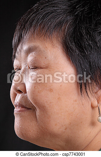 asian woman on black background - csp7743001