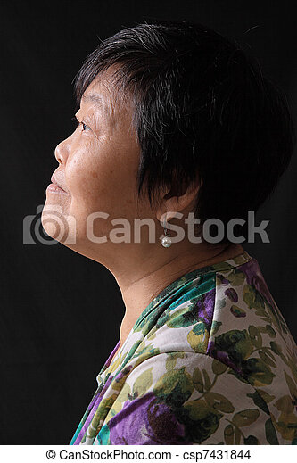 asian woman on black background - csp7431844