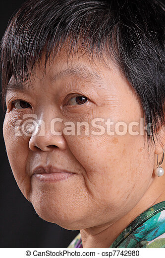asian woman on black background - csp7742980