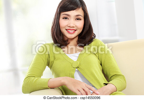 asian woman on the sofa - csp14550096