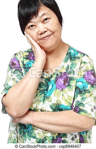 asian woman on white background - csp8946407