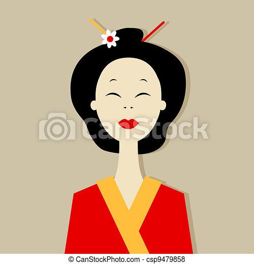Asian woman portrait for your design - csp9479858