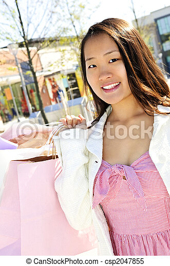 Asian woman shopping - csp2047855