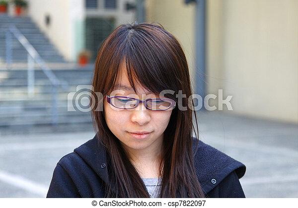 Asian woman smiling in school - csp7822097
