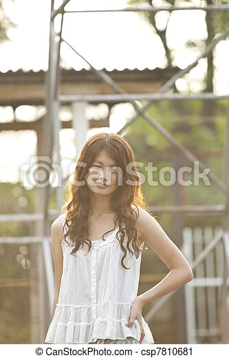 Asian woman thinking oneself - csp7810681