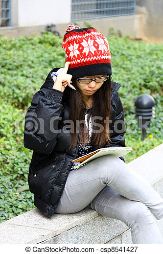 Asian woman thinking  - csp8541427