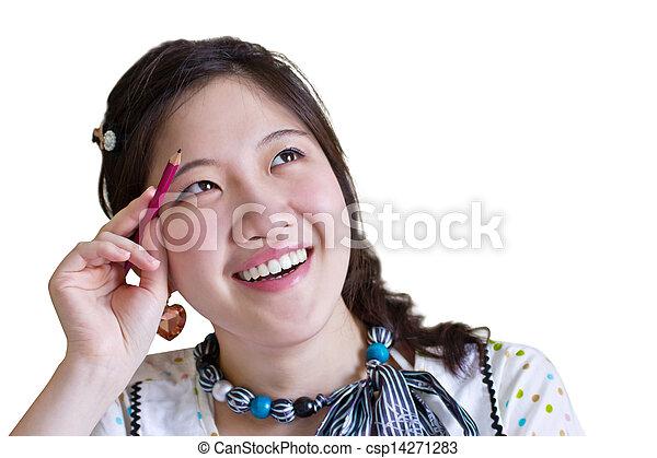 Asian woman thinking - csp14271283