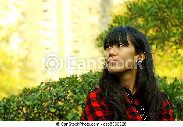 Asian woman thinking - csp8566328