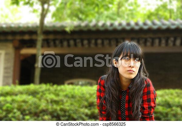 Asian woman thinking - csp8566325