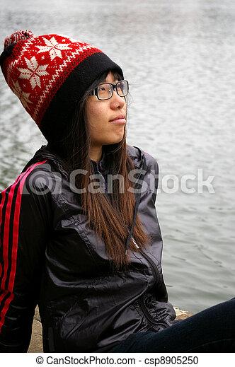 Asian woman thinking - csp8905250