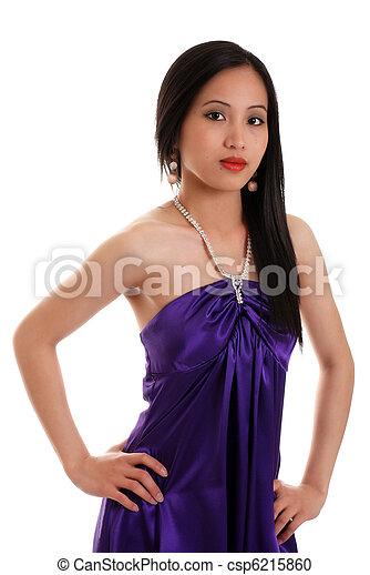 Asian woman wearing a purple dress - csp6215860