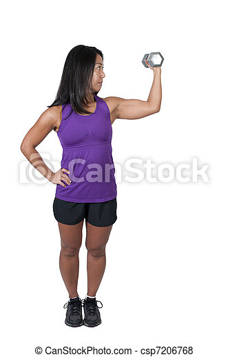 Asian Woman Working with Weights - csp7206768