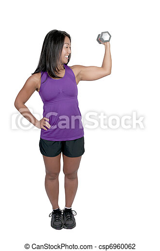 Asian Woman Working with Weights - csp6960062