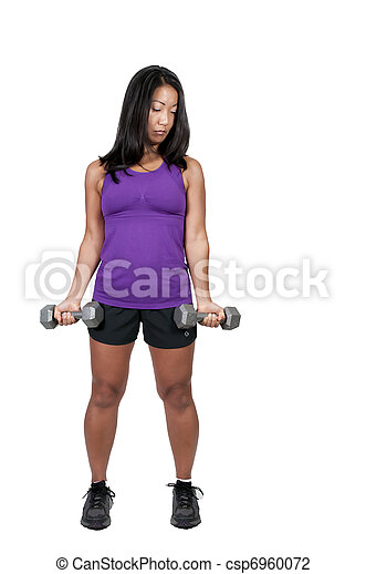 Asian Woman Working with Weights - csp6960072
