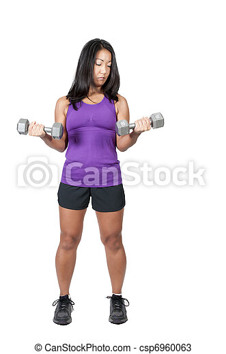 Asian Woman Working with Weights - csp6960063