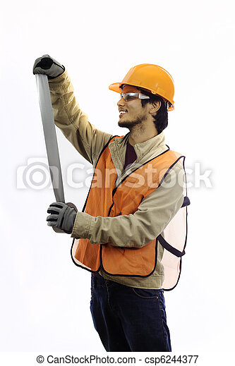 asian workman in hardhat worker - csp6244377
