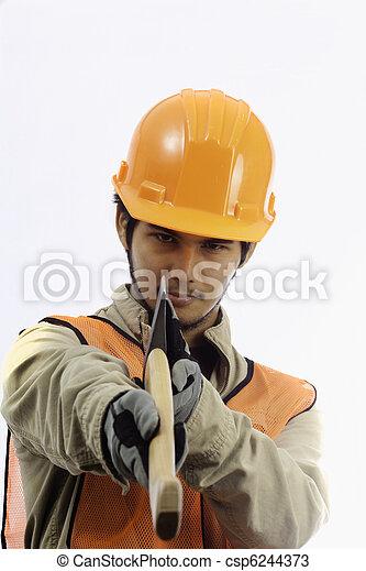 asian workman in hardhat worker - csp6244373