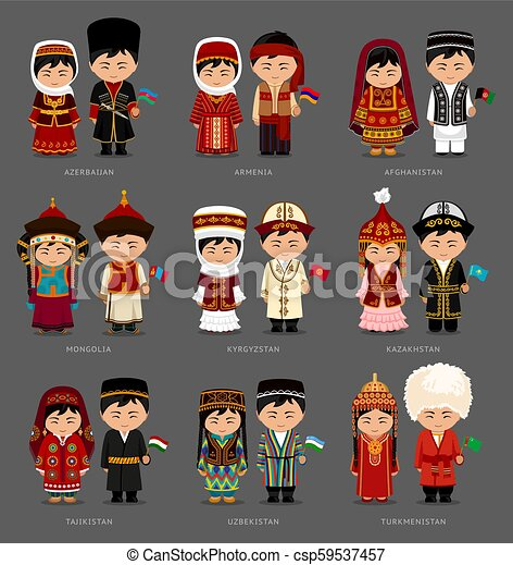 Asians in national dress. - csp59537457
