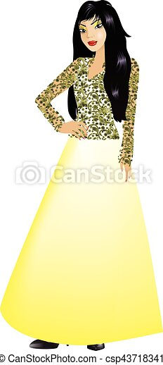 AsianWomanYellow Gown - csp43718341