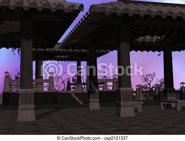 asiatique, fond, temple - csp2121337