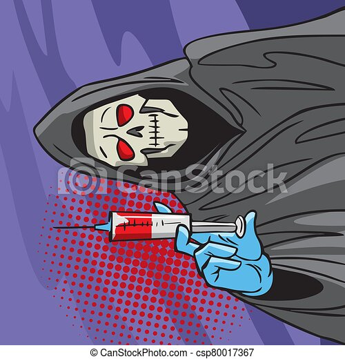 asideros, peligroso, muerte, drug., cómico, estilo, drugs., illustration., addict., jeringuilla, droga - csp80017367