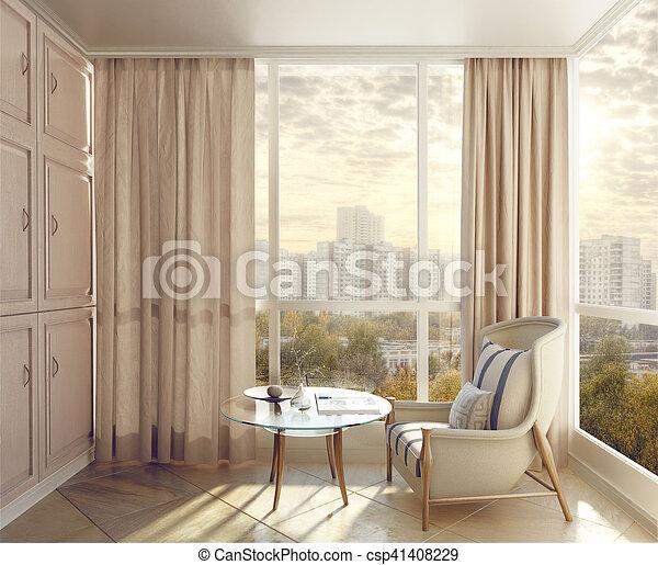 Al área de los dormitorios a la luz del sol con vistas de la ciudad. Ilustración 3D - csp41408229