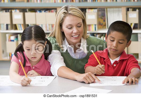 asilo, studenti, scrittura, porzione, abilità, insegnante - csp1891531