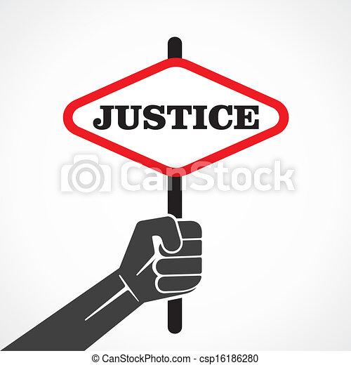 La bandera de la justicia se sostiene - csp16186280