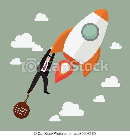 El hombre de negocios se esfuerza por sostener un cohete con una carga de deuda - csp30003160