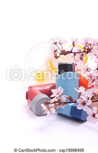 asma, extensión, inhaladores, encima, florecer, árbol, niños, ramas, blanco, tubo - csp18998499