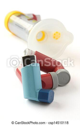 asma, extensión, tubo, inhaladores, plano de fondo, blanco - csp14510118