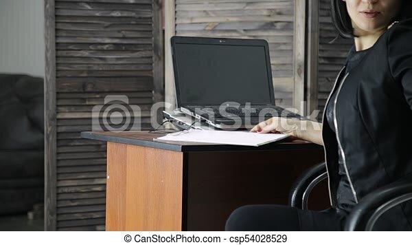 asno, concepto, ella, oficina, bofetadas, jefe, secretary , hembra, sexy,  hostigamiento, lesbiana