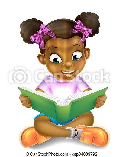 Una niña de dibujos animados leyendo un libro increíble - csp34083792