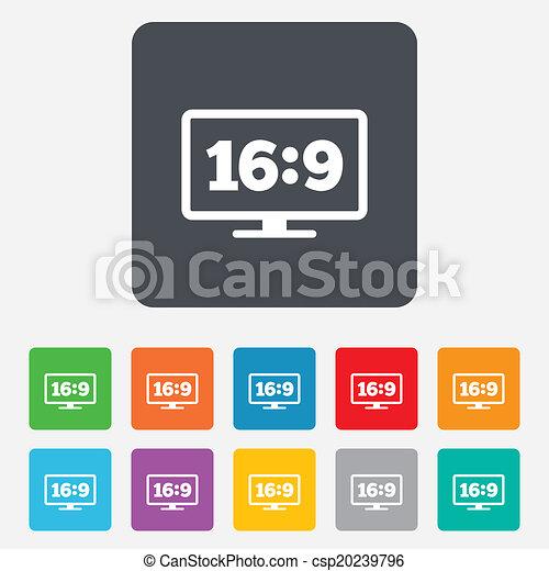 Aspect ratio 16:9 widescreen tv. Monitor symbol. - csp20239796
