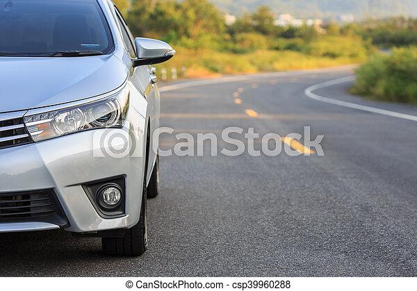 asphalt, auto, parken, front, neu , silber, straße - csp39960288