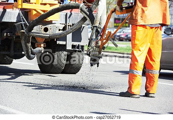 Asphalt patching roadworks - csp27052719