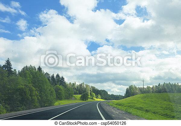Asphalt road in a sunny summer day - csp54050126