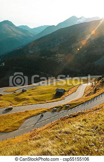 Asphalt road in Austria, Alps in a summer day. - csp55155106
