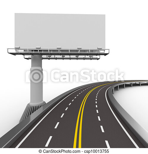 asphalted road with billboard. Isolated 3D image - csp10013755